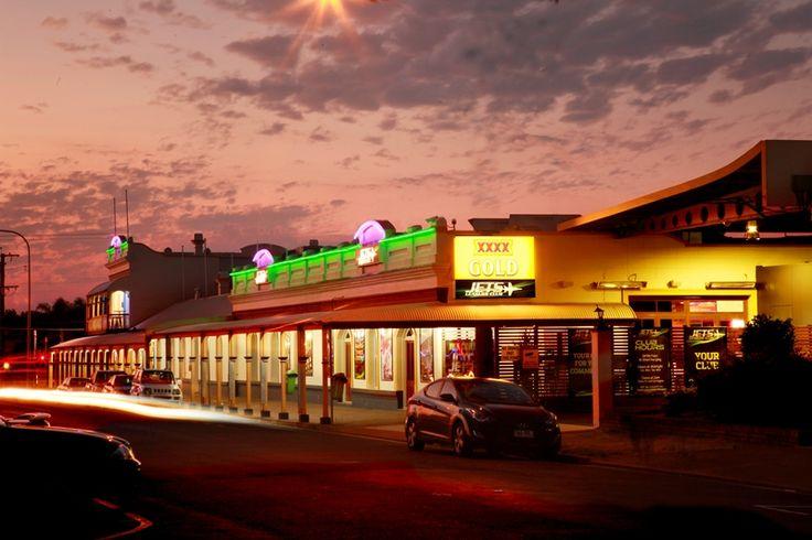 The club at dusk...