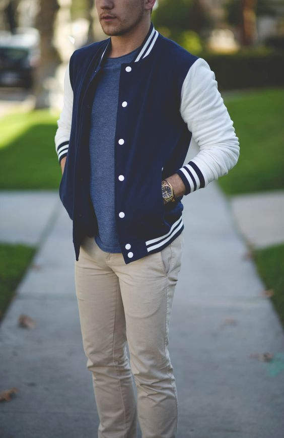 Varsity jacket for men with khakees ⋆ Men's Fashion Blog - TheUnstitchd.com