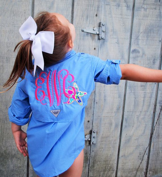 Hey, I found this really awesome Etsy listing at https://www.etsy.com/listing/238579406/monogrammed-kids-columbia-fishing-shirt