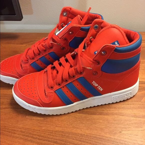 Barely worn Adidas Top Ten high tops Red and blue classic adidas high top  sneakers.