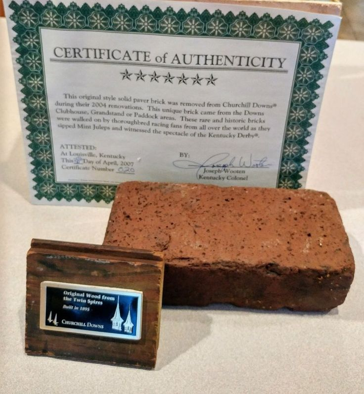 ORIGINAL CHURCHILL DOWNS KENTUCKY DERBY BRICK& REAL WOOD FROM 1895 TWIN SPIRES