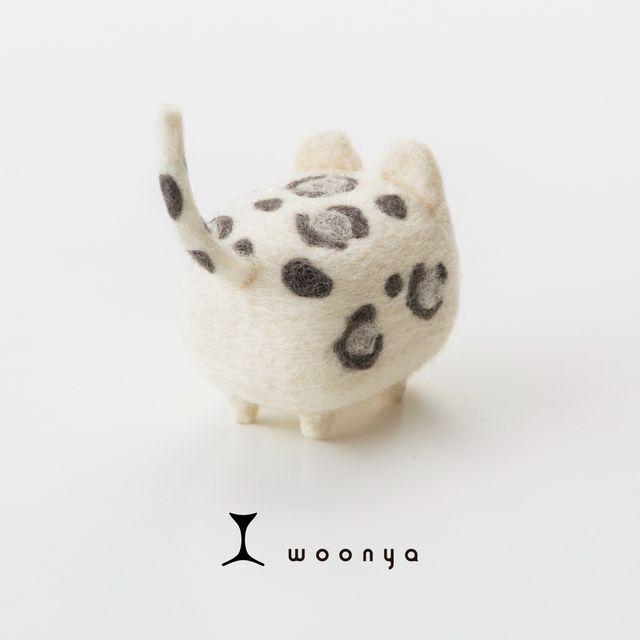 woonya【leopard・shiro】 猫/cat/羊毛フェルト/Needle Felting