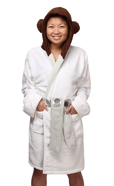"""The perfect companion to our Jedi Robe, this Princess Leia Ladies' Fleece Robe will keep you warm and dry. It's perfect to snuggle up in after you've been out shoveling a path to your closest Starbucks on Hoth. """