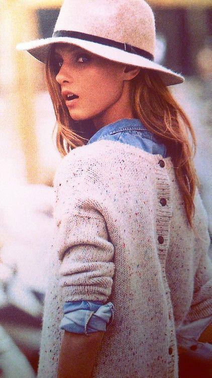 Back buttoned sweater, denim shirt, fedora