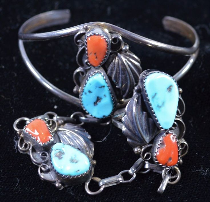 Gorgeous Southern Sterling Silver and Turquoise Bracelet and Ring Combo