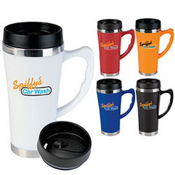 "Travel in style with this handy marketing tool. Our Hudson Travel Mug has the look of a ceramic mug but it is light weight. With acrylic and stainless-steel outer with stainless steel liner and measuring 4 3/4"" w x 7 1/8"" h with a 3 1/4"" diameter; this mug features a leak resistant slider lid and a 17 oz capacity when filled to the rim. Add your logo to this BPA free item to create a terrific giveaway; perfect for promoting your business. Order today!"