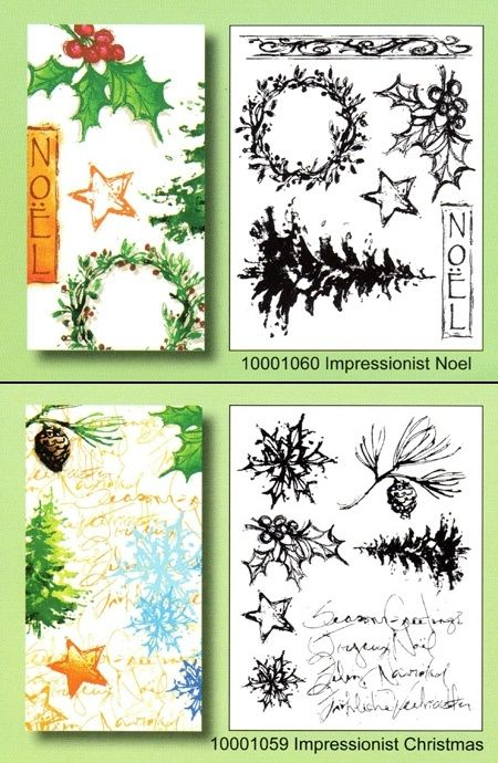 Impressionist Noel (10001060) and Impressionist Christmas (10001059)  clear stamps sets by Artemio.