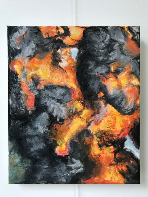 Matthias De Wolf 'Fireball' houtskool en verf / 2014
