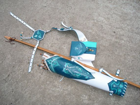 """Multifunctional Tooled Leather Quiver Holding a Bow, a Knife and Detachable Pouch """"Turquoise Dragons"""""""
