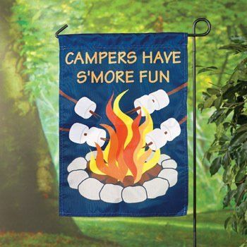 """Camping Campers Have S'more Fun Mini Garden Flag Decor by OTC. $9.96. 14"""" X 18"""". weather resistant nylon. hang on your own mini garden flag pole. Mini """"Campers"""" Yard Flag. Turn your backyard into a campsite with this 14"""" x 18"""" stitched weather-resistant nylon flag."""