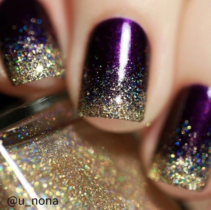 Winter purple and glitter nails