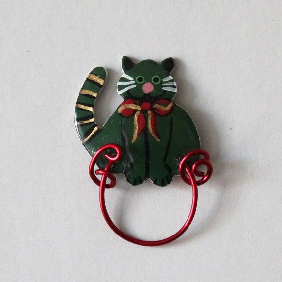 Christmas Cat Magnetic Eyeglass Holder by LauraWilsonGallery, $50.00