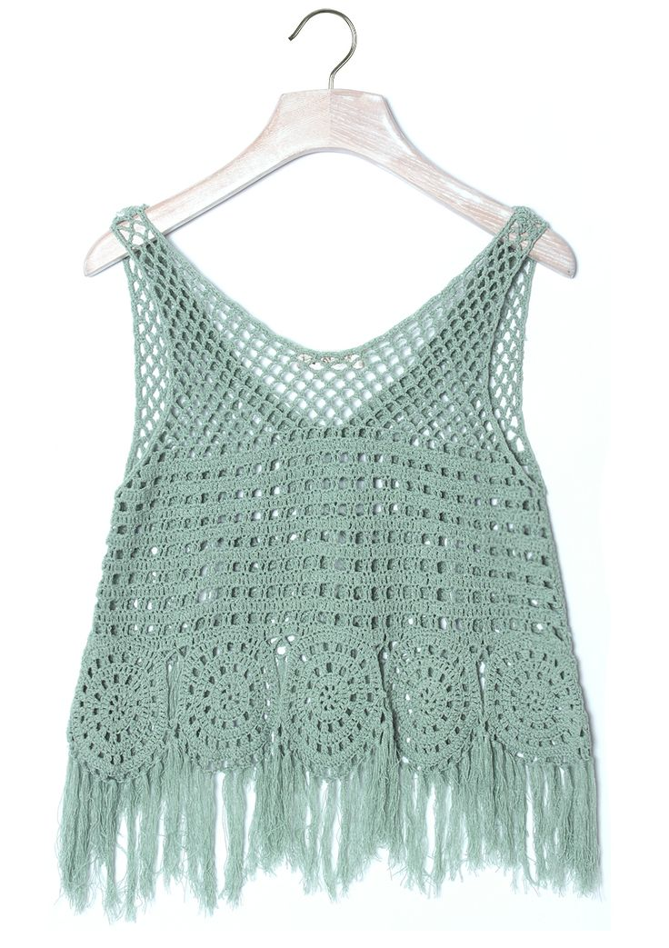 Boho/Gypsy...Handknit Mint Fringe Crop Top