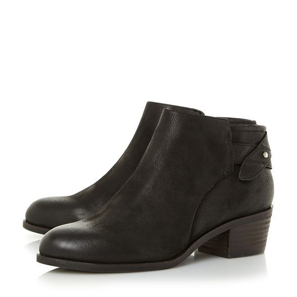 59fe7f8220a Steve Madden Black leather 'Nicola' mid block heel ankle boots ...