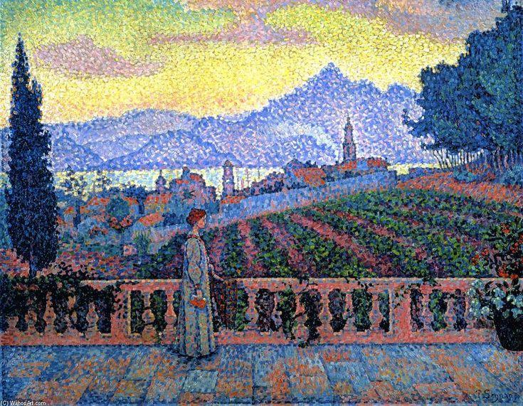 La Terrasse, Saint-Tropez, huile sur toile de Paul Signac (1863-1935, France)