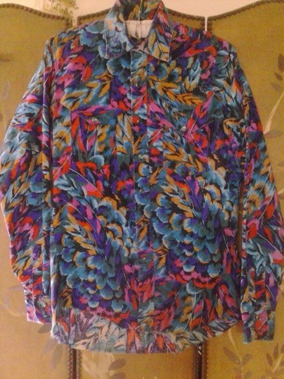 Colourful Wrangler Cowboy cut shirt by Wotsnewpussycat on Etsy