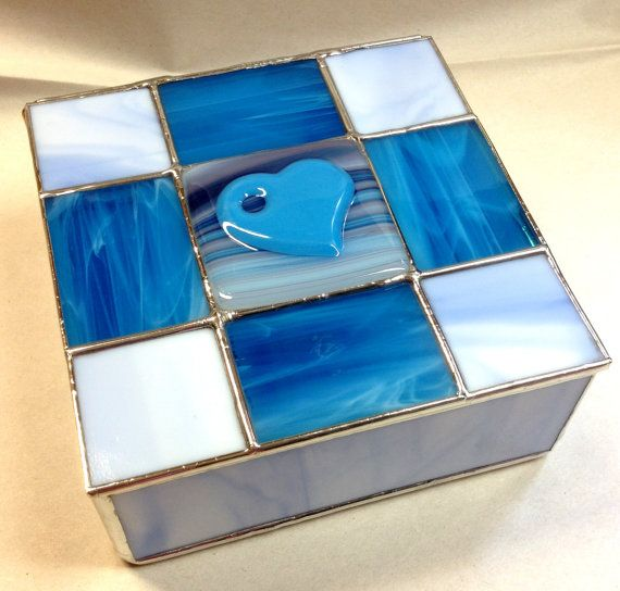 Contemporary Fused Stained Glass Jewelry Box  by PeaceLuvGlass, $52.00