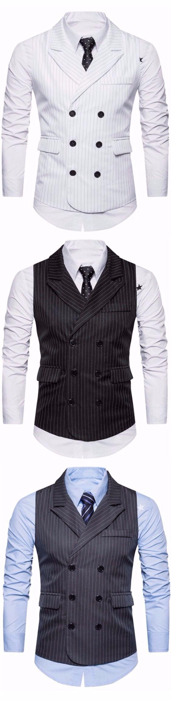 Turndown Collar Double Breasted Belt Vertical Stripe Waistcoat