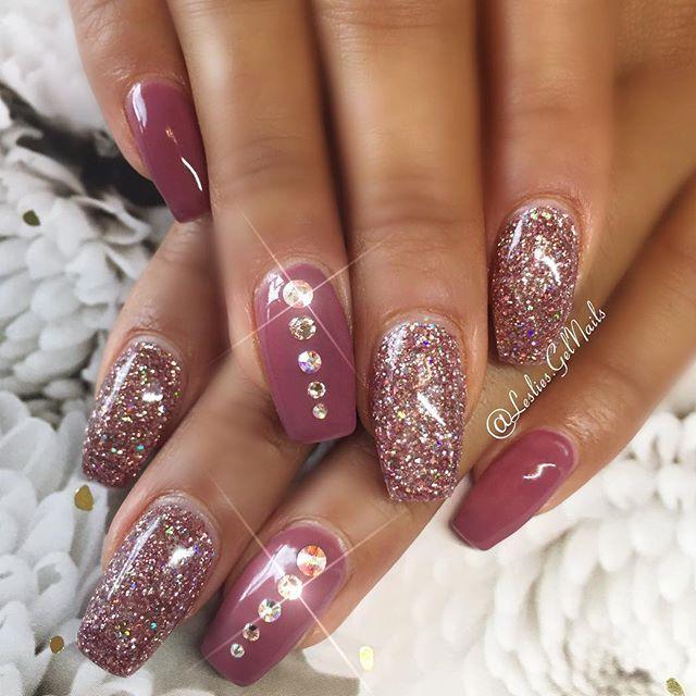 Fall nails | September nail art design | glitter nail ...