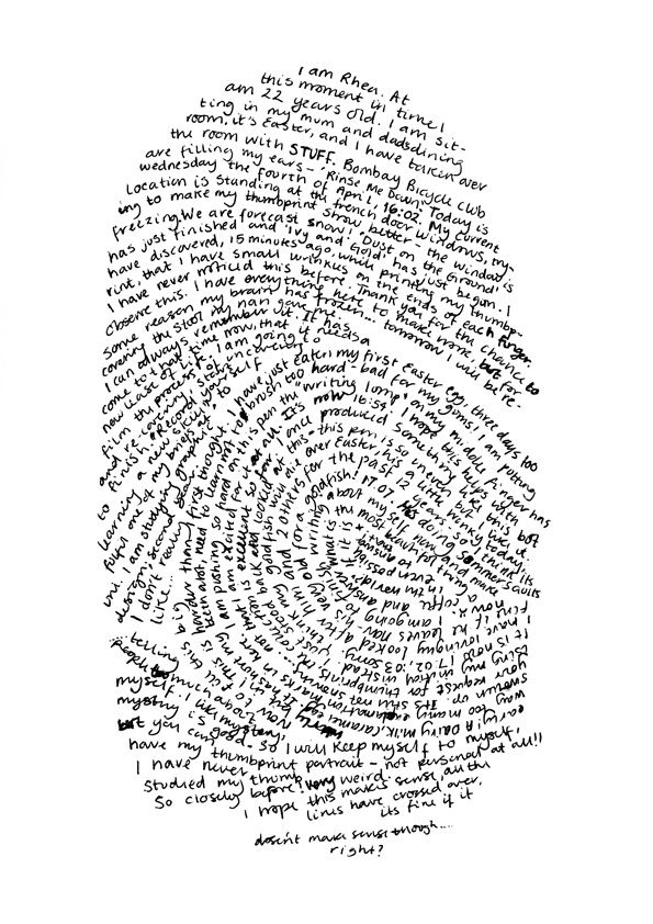 Rhea Gaughan - finger print drawing of her life story. Written in the shape of her actual finger print