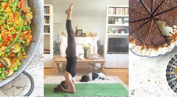© Collage: Marieke Reimann © Einzelbildernachweis von links nach rechts: vegetarische Paella Ella Woodward/Instagram  Ella Woodward Ella Woodward/Instagram  Schokokuchen Ella Woodward/Instagram