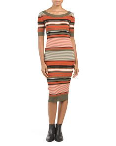 Juniors Ribbed Striped Midi Dress