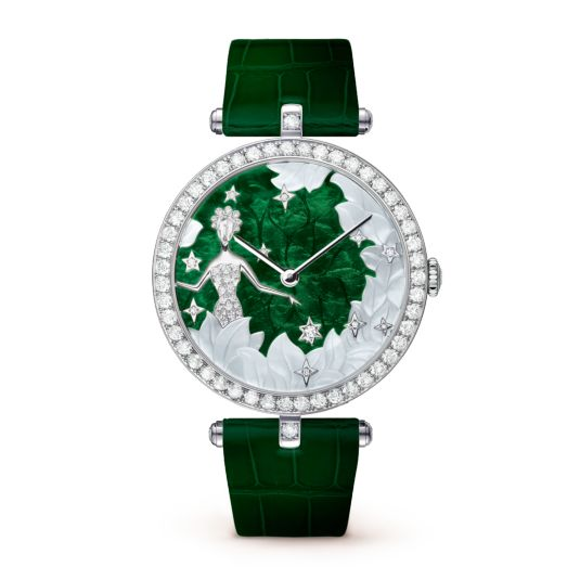 Lady Arpels Zodiac Virgo Watch,Shiny alligator, square scale - Front View - VCARO4I600 - Van Cleef & Arpels