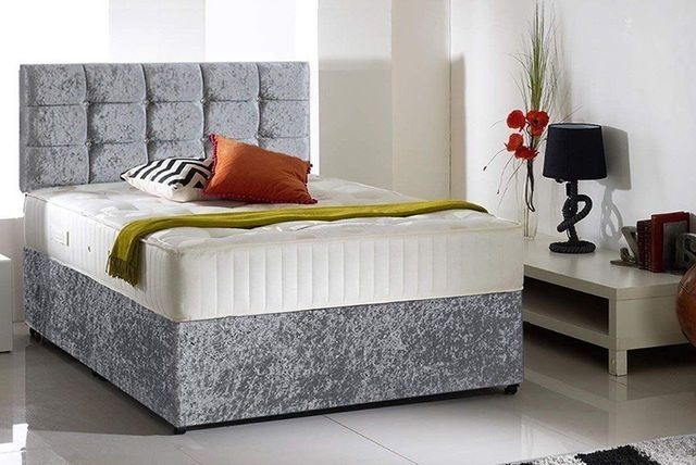 Crushed Velvet Divan Bed With Optional Drawers Beds Mattresses