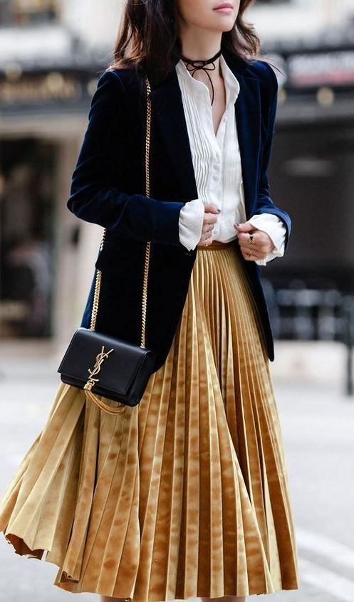 Gold velvet pleat & navy blazer  Love the colors and the fabrics of this outfit. The pleated skirt is especially cute.