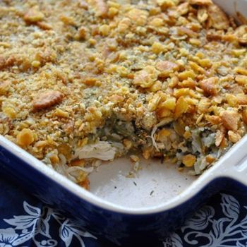 chicken and wild rice casserole, mix it all together and bake at 350 for 30 min.  i will use breadcrumbs instead of ritz crackers.
