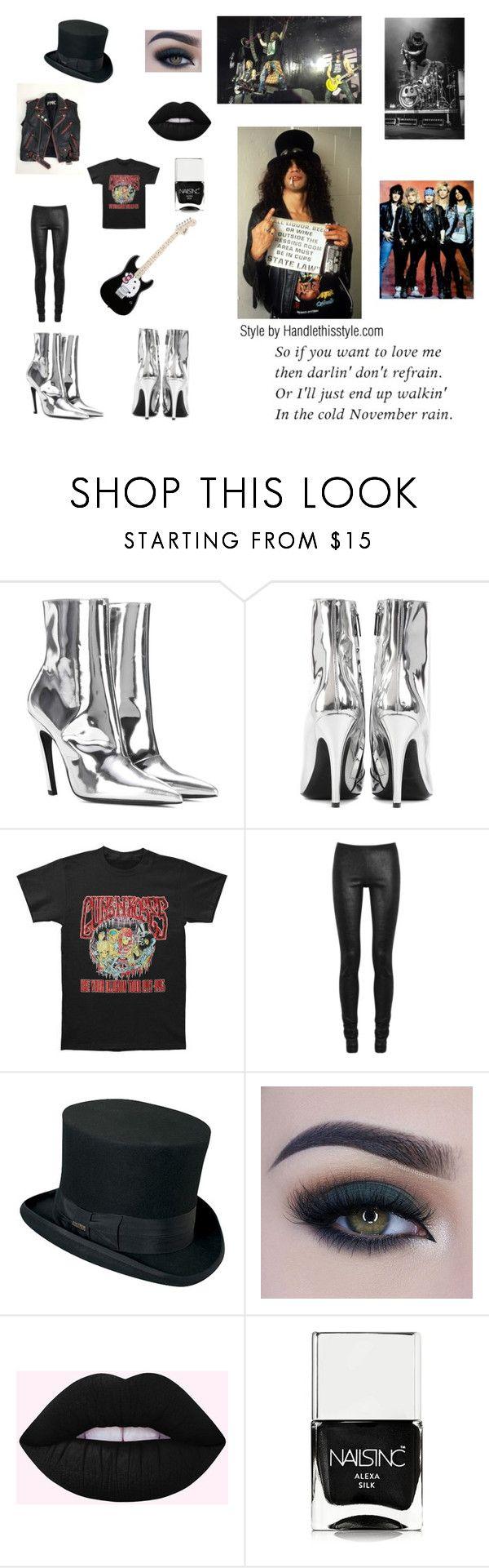 """""""Guns N Roses! My New Blog Post tomorrow will be Guns N Roses! Yay!"""" by handlethisstyle ❤ liked on Polyvore featuring Balenciaga, Rick Owens, Hello Kitty, Too Faced Cosmetics and Nails Inc."""