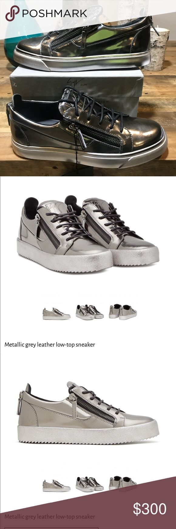 New Men Giuseppe Zanotti Sneakers 100%Authentic 44 Originally $750 100% Authentic Guaranteed  Sizes 11(44) 12(45) Men's sneaker Metallic grey patent leather upper Low-top Lace up style Rubber sole with logo Made in Italy Giuseppe Zanotti Shoes Sneakers