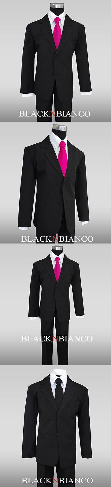 Boys Formal Occasion 105520: Formal Black Suit For Boys With A Pink Fuchsia Long Neck Tie Kids All Sizes -> BUY IT NOW ONLY: $32.99 on eBay!