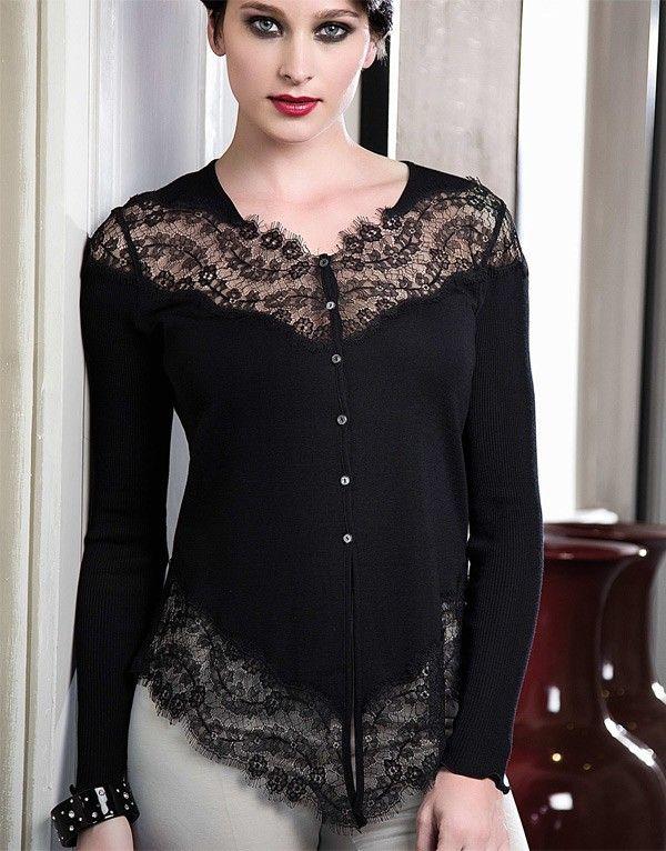 magnifique gilet asym trique en laine soie plat et dentelle de calais coloris noir envie d. Black Bedroom Furniture Sets. Home Design Ideas