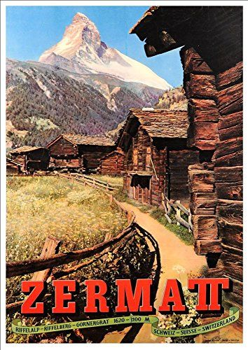 'Zermatt - Switzerland' (4) - A4 Glossy Art Print Taken From A Rare Vintage Travel Poster by Vintage Travel Posters http://www.amazon.co.uk/dp/B01BHQF88O/ref=cm_sw_r_pi_dp_XOgTwb1HEGJYG