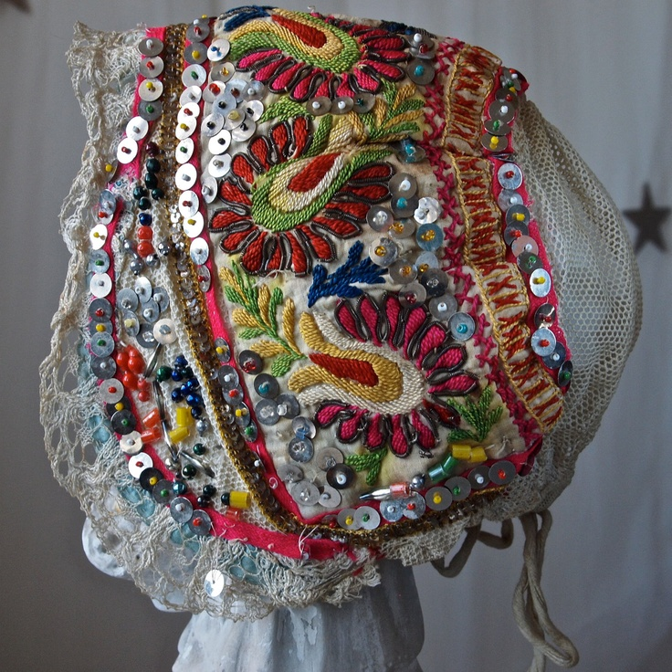 Czech Moravian 20's Hand Made Embroidered Sequined Beaded Woman's Bonnet