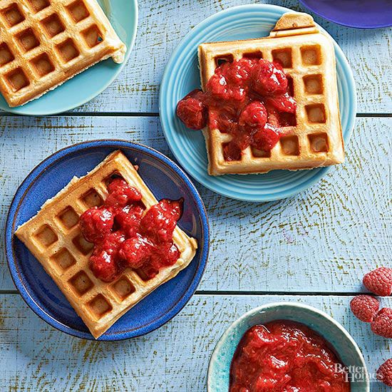 Make a waffle that wows with this 30-minute raspberry-rhubarb topper. The sticky-sweet condiment can be made with fresh or frozen fruit. Freeze: Up to 1 month To Serve: Thaw in the refrigerator for 1 to 2 days. Transfer to a medium saucepan. Cook over medium heat about 5 minutes or until heated through.