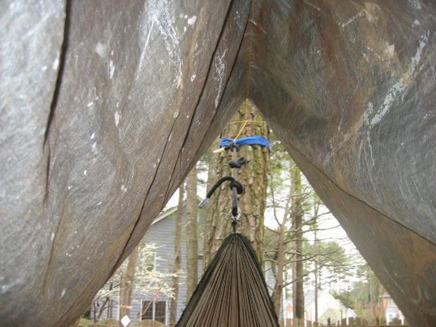 Picture of the hammock hut: a easy to make hammock rain-fly