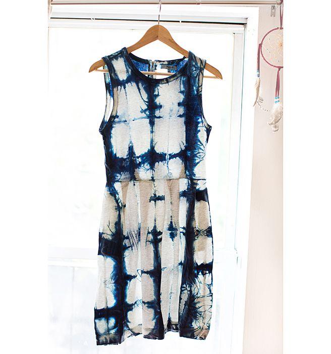 Upcycling a plain white dress: High Fashion Tie Dye DIY - Shibori Tutorial - Elle
