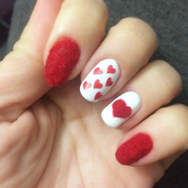 Love valentine's day nails nail art sevgililer günü tırnakları red velvet kadife tırnaklar kalpli hearts
