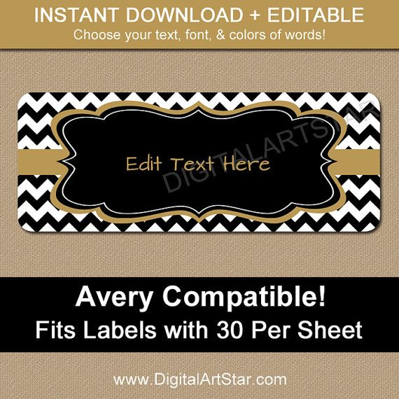 Printable Address Labels Black Amp Gold Chevron Return