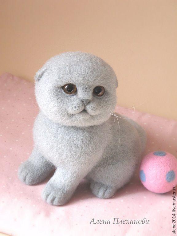 Купить Блу - серый, котенок, котенок игрушка, котенок из шерсти, интерьерная игрушка, подарок, киска