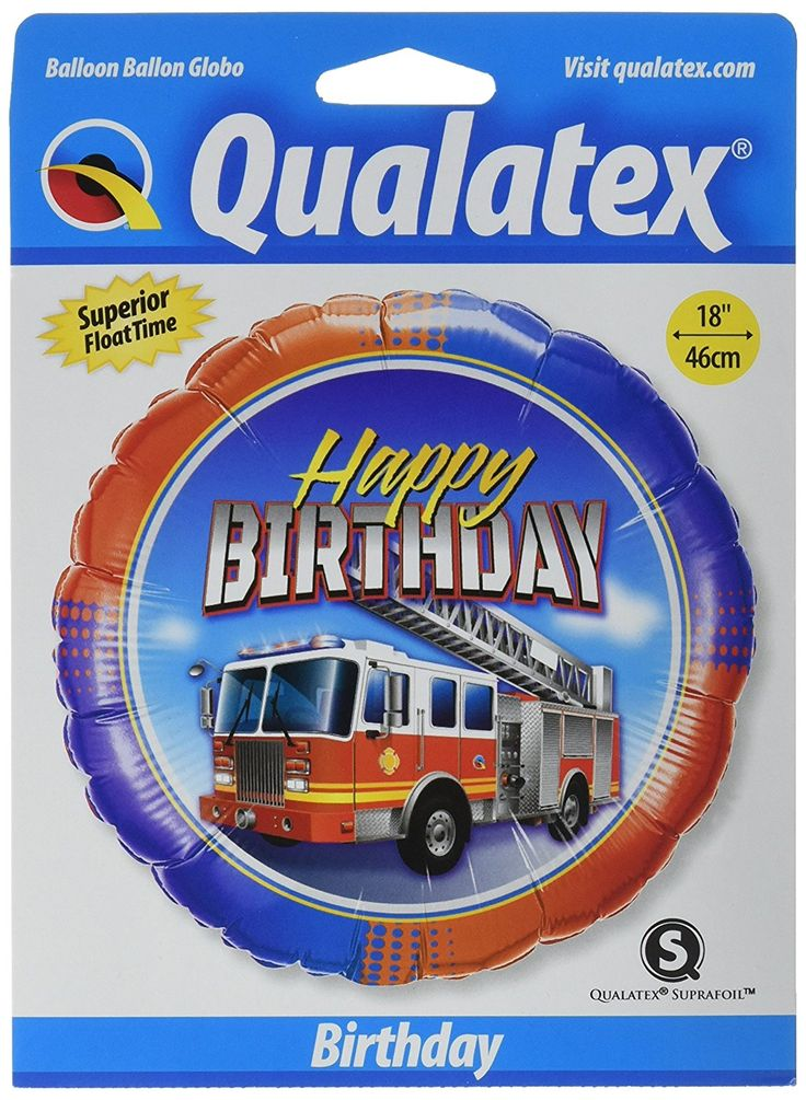"""AmazonSmile: Pioneer Balloon Company Birthday Fire Truck Foil Balloon, 18"""", Multicolor: Kitchen & Dining"""