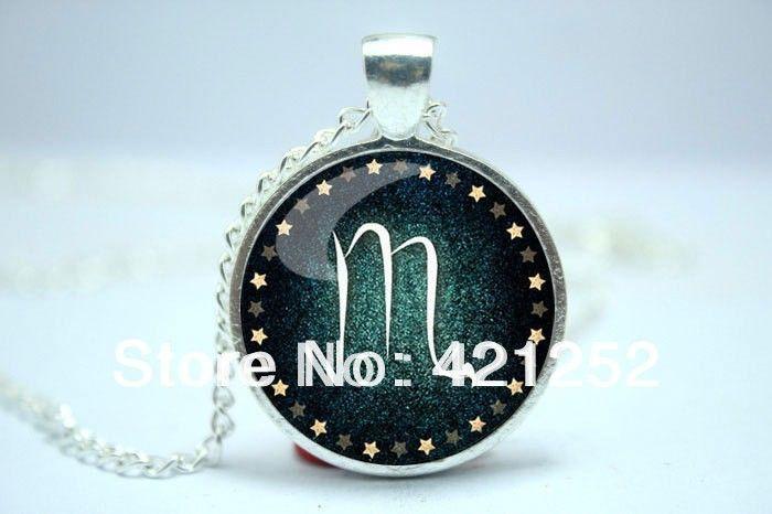 Скорпион ожерелье, Знак зодиака подвеска, Созвездие ювелирные изделия стекло кабошон ожерелье