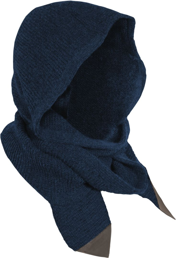 Guillotine Scarf Unity Collection Fine Cashmere/Merino/Angora wool-mix scarf with unique hooded design.