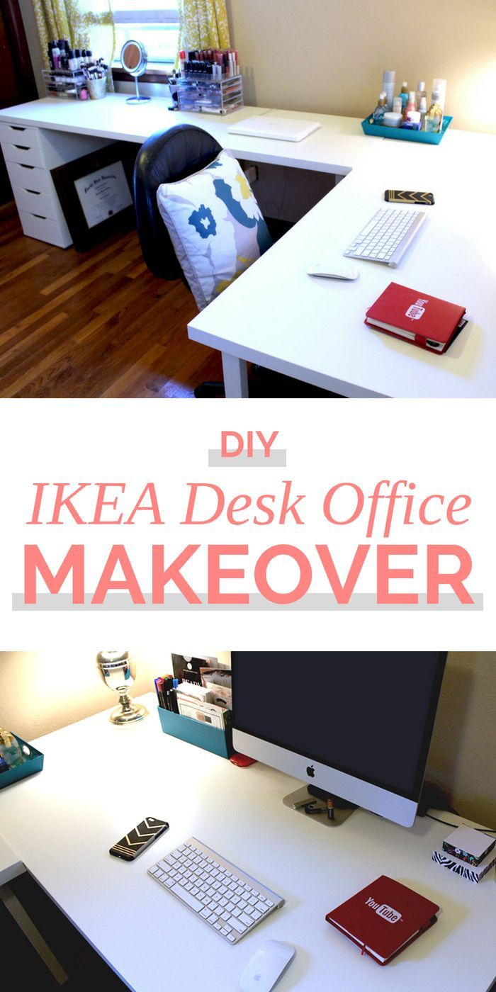 I Gave My Office A Makeover I Used Two Separate Ikea Linnmon Desks To Make An L Shaped Corner Desk And Finis L Shaped Office Desk Ikea Desk Ikea L Shaped Desk