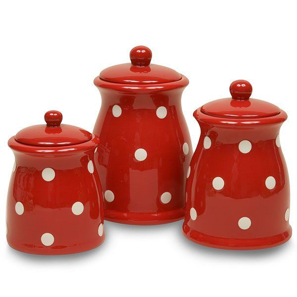 Red ceramic canisters sets small canister red base with white dots ceramic more details - White ceramic canisters for the kitchen ...