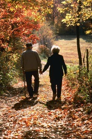 Growing old together and walking through the autumn trail. pathway sweet