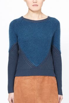 Carven Mixed Media Pullover (Blue) Mohair sweater with angular rib knit detailing throughout, raglan sleeves. 39% mohair, 34% viscose, 14% mohair, 13% wool
