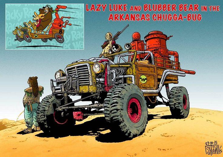 Já imaginou Dick Vigarista, Penélope Charmosa e outros personagens da Corrida Maluca em um universo estilo Mad Max? Confira as criativas ilustrações de Mark Sexton.